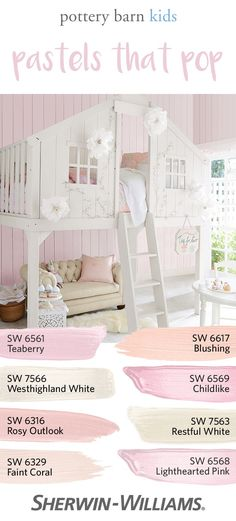 28 colors in the Spring/Summer 2017 palette. Love blush tones as much as we do? This palette features Teaberry SW 6561 (on the walls), Blushing SW Westhighland White SW 7566 and others—all designed to pair perfectly with your favorite accessories. Kids Playroom Colors, Playroom Color Scheme, Colorful Playroom, Pottery Barn Kids, Kids Room Paint, Kids Rooms, Nursery Paintings, Painting Walls, Little Girl Rooms