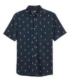 Kurzarmhemd aus Baumwolle | Dunkelblau/Palmen | Herren | H&M DE
