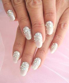 Wedding Nail Designs | nail design see more about nail designs white nails and rhinestone ...