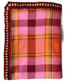 Plaid Fleece Blanket Beautiful Crochet Edge, Hearts in the Corner, Pink, Orange, Burgandy Large Elegant Throw/House Warming/Hand-Stitched by AllSylviasCreations on Etsy