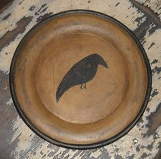 Painted Wood Crow Plate