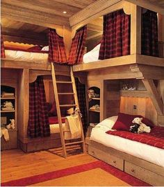 20 Amazing Log Cabin Decor to Take Advantage of Every Space Available - Page 19 of 21 Bunk Bed Rooms, Bunk Beds With Stairs, Cabin Homes, Log Homes, Log Cabin Bedrooms, Cabin Bunk Beds, Sophisticated Bedroom, Built In Bed, Bunk Bed Designs