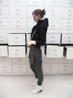 Jacket ( cotton, polyester), trousers (wool), belt (wool, silk-screen print), shoes ( fake leather)