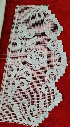 Filet Crochet Charts, Crochet Borders, Crochet Motif, Crochet Doilies, Knit Crochet, Crochet Patterns, Crochet Curtain Pattern, Crochet Curtains, Curtain Patterns
