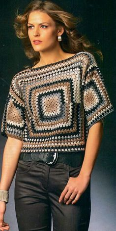 New Trend Granny Sqaure Crochet Top Pattern Ideas Part 41 : New Trend G. New Trend Granny Sqaure Crochet Top Pattern Ideas Part 41 : New Trend Granny Sqaure Croche Débardeurs Au Crochet, Pull Crochet, Crochet Woman, Crochet Blouse, Crochet Poncho, Single Crochet, Crochet Baby, Crochet Tops, Crochet Vests