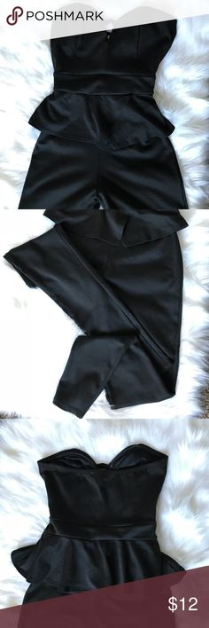 Strapless Black Jumpsuit Very cute strapless Black Jumpsuit, only worn once! In great condition. Charlotte Russe, size M. Charlotte Russe Pants Jumpsuits & Rompers