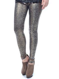 Anna-Kaci S/M Fit Metallic Shine Snake Skin Scales Inspired Slim Leggings Pants Anna-Kaci. $16.90