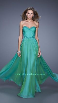 Ruched Long Sheer Back La Femme 20669 Jungle Green Prom Dresses Ombre Prom Dresses, Strapless Dress Formal, Girls Dresses, Bridesmaid Dresses, Formal Dresses, Dresser, Sweet Sixteen Dresses, Military Ball Dresses, Fancy Gowns