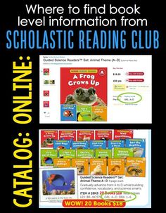 Help parents easily find book level information in Scholastic book orders with these FREE posters that teachers can post on class webpages or newsletters. Reading Response Activities, Reading Themes, Reading Centers, Book Activities, Reading Levels, Reading Club, Guided Reading, Kindergarten Language Arts, Teaching Kindergarten
