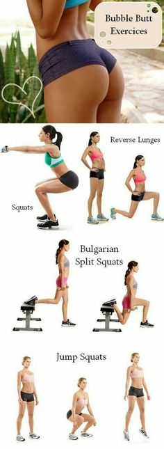 Yoga Fitness Plan - Bubble butt exercise workout plan - Get Your Sexiest. Body Ever!…Without crunches, cardio, or ever setting foot in a gym! Fitness Workouts, Fitness Motivation, Sport Fitness, Yoga Fitness, At Home Workouts, Health Fitness, Fitness Weightloss, Butt Workouts, Fitness Shirts