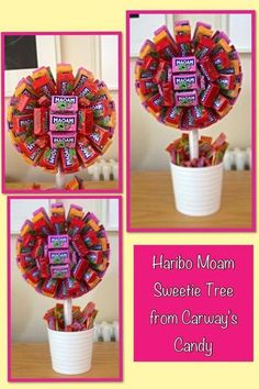 Sweet tree Candy Themed Party, Party Themes, Party Ideas, Candy Topiary, Sweet Trees, Candy Crafts, Candy Bouquet, Thank You Gifts, Homemade Gifts