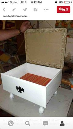 Add legs to an old drawer and a flip top lid