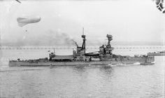 12 in battleship HMS Bellerophon, 1918 - lead ship of the first class of Royal Navy Dreadnoughts to enter service after the prototype Dreadnought herself.