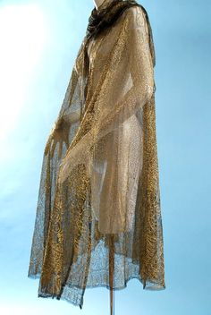 c4e34f1168c Antique 1920 Burnished gold metallic embroidered lace cape or shawl 1930s  Fashion