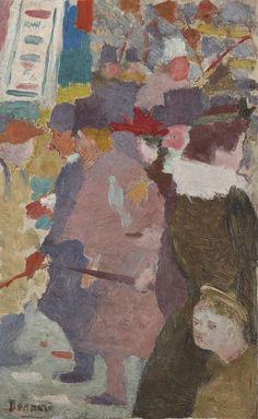 "thunderstruck9: "" Pierre Bonnard (French, 1867-1947), La rue [The Street], 1889. Oil on cradled panel, 26.8 x 17 cm. """