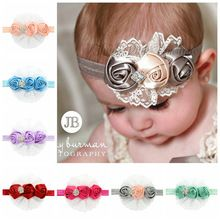 Baby Infant Toddler Girls Triple Satin Flowers Headband with Diamontes 0-18 mos