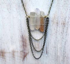 Mystic Quartz Crystal Spike Necklace - Peach Gemstone, Antiqued Brass Chain - Rocks and Minerals Collection - Gift Box. $34.00, via Etsy.
