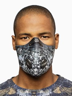 """""""Samir"""" mask from the S/S2015 Marcelo Burlon County of Milan in black and white."""