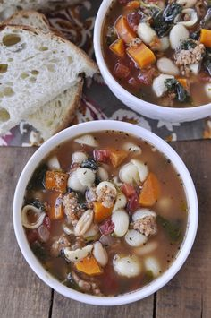 Italian Sausage Soup - full of yummy vegetables, pasta, beans and sausage.  Hearty enough to be a main dish without being too heavy! Perfect served with crusty bread and a green salad!