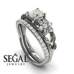 'Fresh Flora' Bridal Set Diamond Ring - Ella no. Leaf Engagement Ring, Unique Diamond Engagement Rings, Classic Engagement Rings, Engagement Ring Settings, Diamond Rings, Bridesmaid Jewelry Sets, Bridal Jewelry Sets, Bridal Bracelet, Flora Bridal