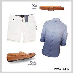 Mokasyny Wojas to obowiązkowy element swobodnej, casualowej stylizacji. Najlepiej połączyć je z modną, cieniowaną koszulą oraz białymi szortami. Calość uzupełnia brązowy pasek Wojas.