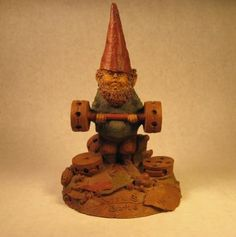 Bubba, the weight lifter (a vintage Tom Clark gnome) uses tinker toys for weights. 30% off sale