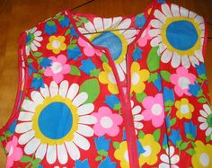 Zippered flowery smock. 70s cool. by SquareNailSalvage on Etsy