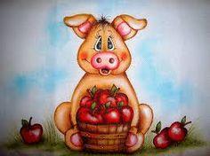 Resultado de imagem para pintura em pano de prato com porquinhos