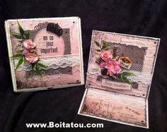 Un ensemble Boitatou et carte-chevalet pour un anniversaire féminin, créé par Louise. Easel Cards, Decorative Boxes, Scrapbooking, Birthday, Scrapbooks, Memory Books, The Notebook