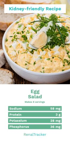 Apr 2020 - This easy egg salad recipe is best to start your meal or as a side dish to your vegetable main course. Start delaying dialysis by knowing what kidney foods to eat and controlling your nutrient intake. ( - 58 mg) ( - 3 g) ( - 28 mg) ( - 36 Kidney Foods, Kidney Friendly Foods, Kidney Recipes, Kidney Health, Low Salt Recipes, Easy Egg Recipes, Low Salt Meals, Low Sodium Meals, Low Sodium Soup
