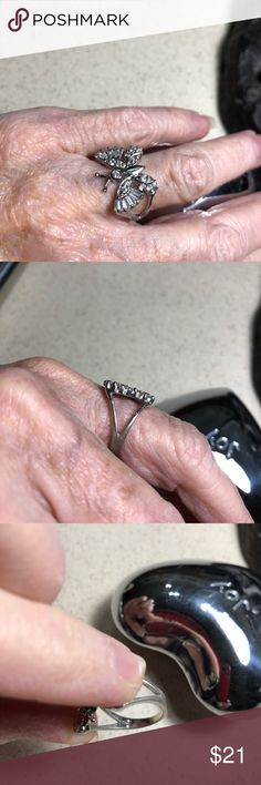 Pretty sterling crystal butterfly ring This sterling crystal butterfly ring is easy to wear.   Very cute. Jewelry Rings
