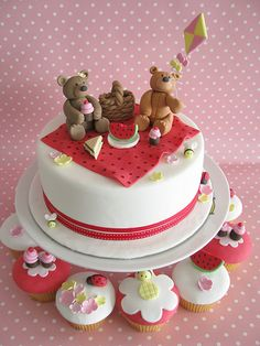 Teddy Bears Picnic - cakes and cupcakes by Sharon Wee Creations, via Flickr