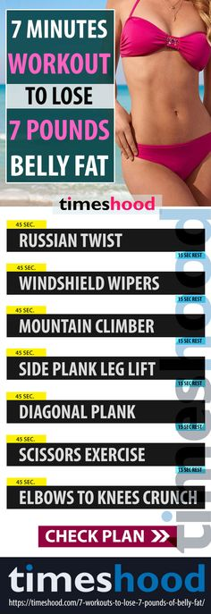 This 7 minutes workout plan will help you to lose 7 pounds of belly fat in 7 days. Workout plan for Flat belly. 7 Best Exercise to lose belly pooch in 7 days. Love handles, Side fat, Tummy fat workout. #Bellyfat #workout https://timeshood.com/7-workouts-to-lose-7-pounds-of-belly-fat/