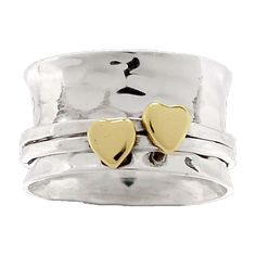 Spinner TwoTone Hearts Kiss Ring
