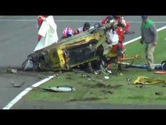 UNREAL 458 crash. Car disintegrates. Both driver and track worker survive.