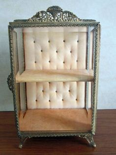 Vintage Standing Casket Gold Ormolu & Beveled Glass Jewelry Trinket Display Box