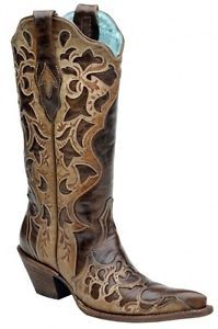 Corral Women s Cowboy Western Boots Chocolate Trufie Sand Tooled Laser C1933 | eBay