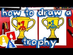 How to Draw a Trophy for DAD for Father's Day step by step Cute Dad Drawing, Drawing For Kids, Drawing Tips, Art For Kids Hub, Art Hub, Cool Birthday Cards, Dad Birthday, What To Draw, Learn To Draw