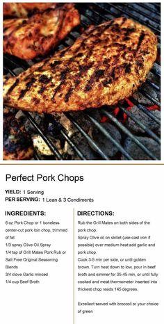 Pork Loin Chops, Pork Tenderloin Recipes, Pork Chop Recipes, Chicken Recipes, Low Carb Recipes, Healthy Recipes, Lean Recipes, Medifast Recipes, Free Recipes