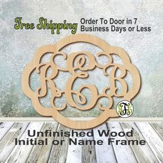 Samantha frame 3 letter monogram personalized cutout 3 initials unfinished wood rebecca frame monogram name word to custom laser cut unpainted wooden cut out wedding personalized diy spiritdancerdesigns Gallery