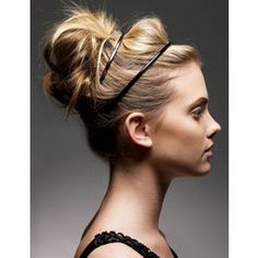 High messy bun with double headbands
