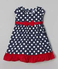 Look what I found on #zulily! Navy & White Polka Dot Cap-Sleeve Dress - Infant by Sweet & Soft #zulilyfinds