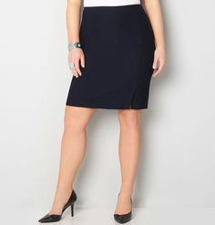 Keep your work wardrobe fresh and modern with our soft and stretchy luxe fabric. This skirt is comfortable and curve friendly with sturdy fabric that keeps you looking polished in a smooth finish.   Easy care, wrinkle-resistant fabric.  Rayon/nylon/spandex. Machine wash. Imported.  Approx. 24 inches long.