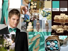 Turquesa - Arena - Chocolate : PANTONE WEDDING Styleboard : The Dessy Group