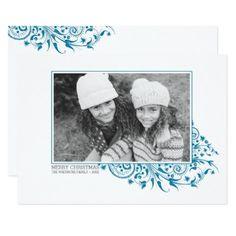 #Winter Frost Merry Christmas Photo Card - #Xmas #ChristmasEve Christmas Eve #Christmas #merry #xmas #family #kids #gifts #holidays #Santa