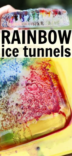 These Rainbow Ice Tunnels are the perfect blend of science and art! Watch the colors etch tunnels into the ice molds to form a unique design! Fun Outdoor Activities, Science Activities For Kids, Cool Science Experiments, Stem Science, Preschool Science, Science Fair, Science Lessons, Science Projects, Summer Activities