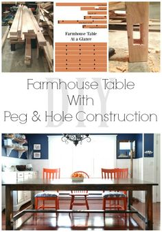 How to make your own farmhouse table with peg and hole accents. This table is amazing and seats up to 12 people!   DIY Farmhouse table   iamahomemaker.com