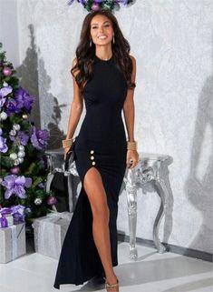 Classy Long Mermaid Prom Dress,Sleeveless High Slit Evening Dress,Halter Party Dress