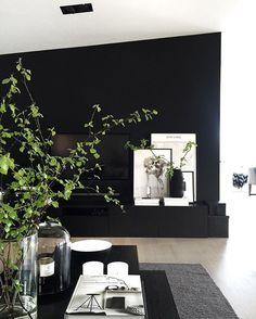 Bringing some spring inside too🌿👌🏻 Home Living Room, Apartment Living, Living Room Designs, Living Room Decor, Black Accent Walls, Black Walls, Interior Design Plants, Interior Inspiration, Decoration