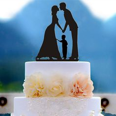 Family Silhouette Kissing Bride And Groom With A Boy Wedding Cake Topper - Wedding Look
